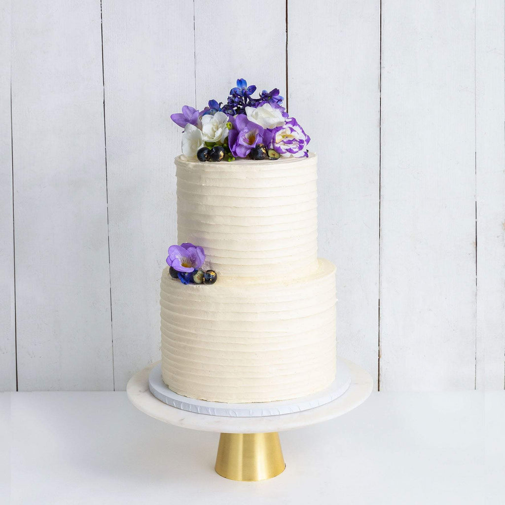 "Cutter & Squidge Weddings Purple Floral - Two Tier (8"", 6"") TWO TIER FLORAL RUFFLE WEDDING CAKE"