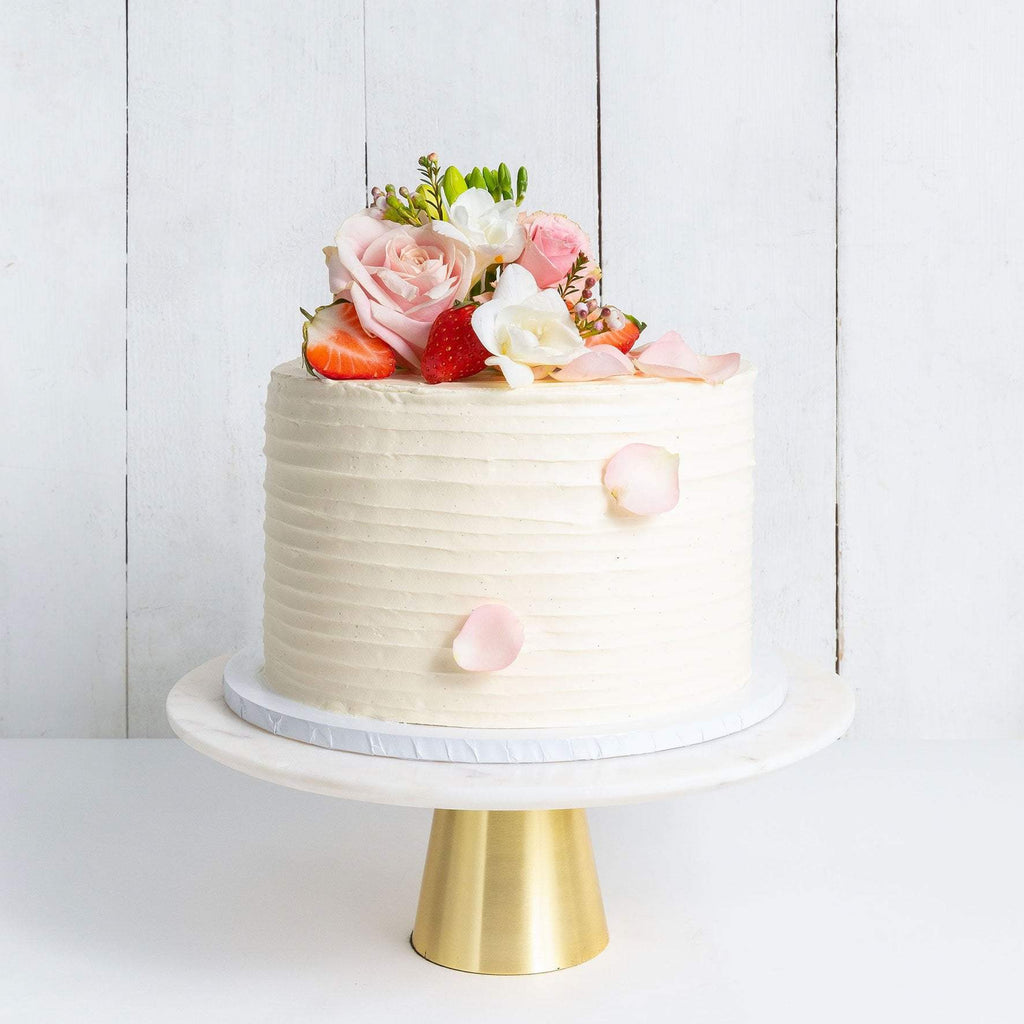 ONE TIER FLORAL RUFFLE WEDDING CAKE