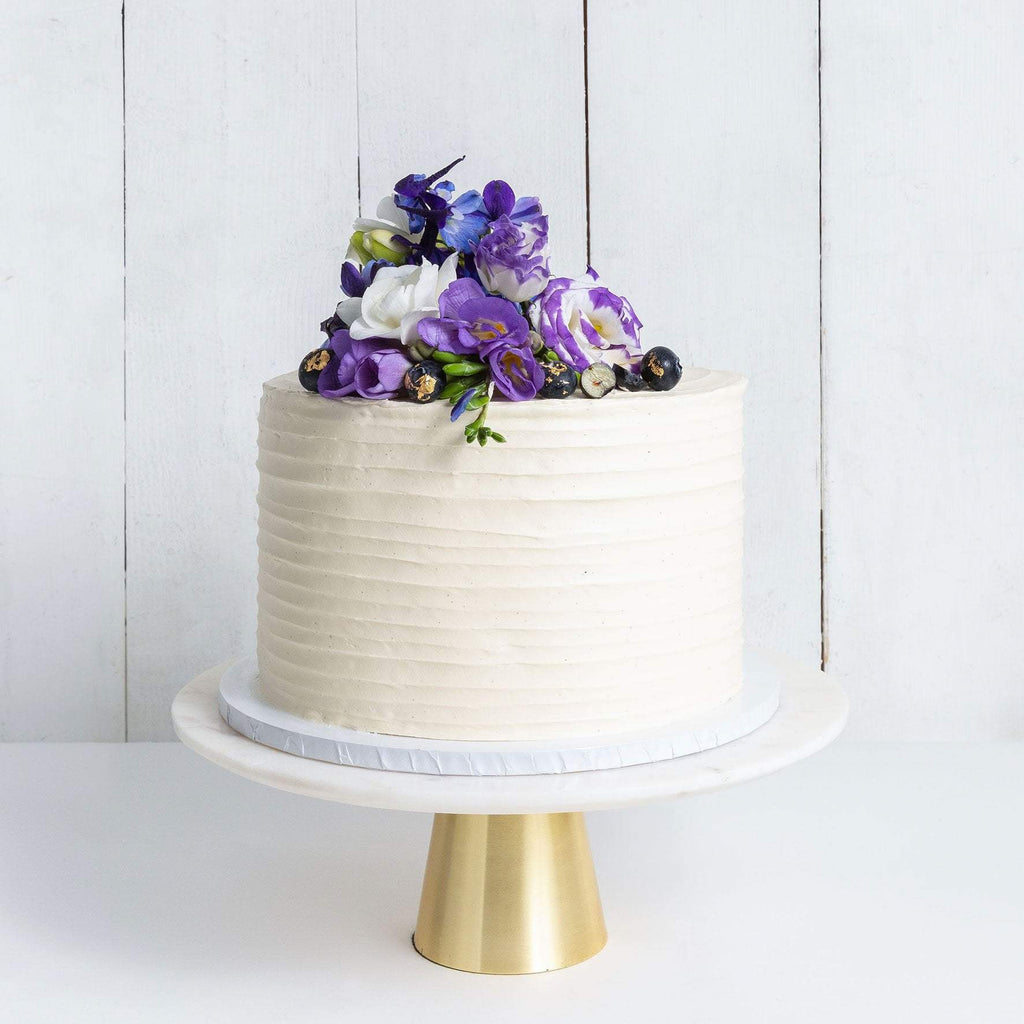 "Cutter & Squidge Weddings Purple Floral - Medium 8"" ONE TIER FLORAL RUFFLE WEDDING CAKE"