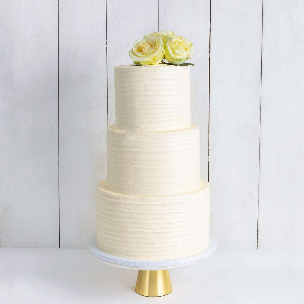 THREE TIER FLORAL RUFFLE WEDDING CAKE