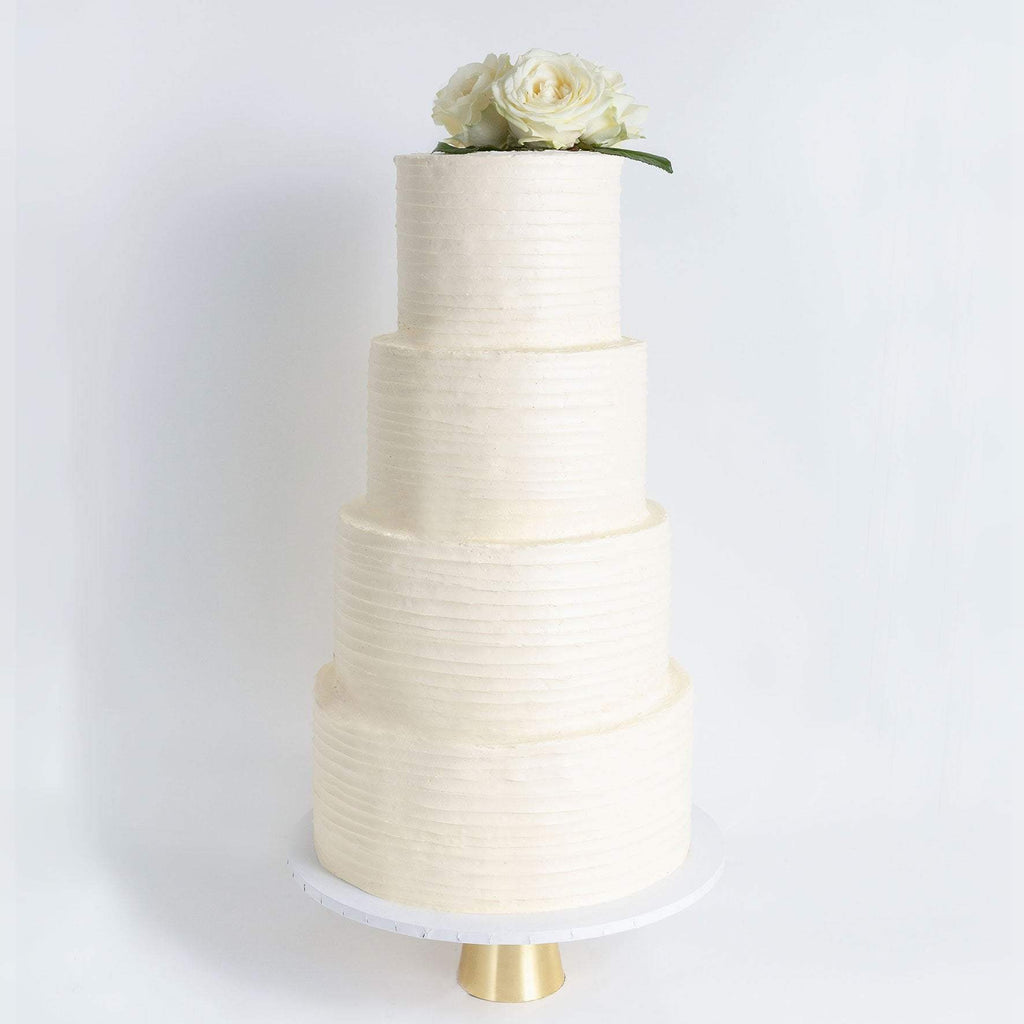 "Cutter & Squidge Weddings Classic White Rose - Four Tier (12"", 10"", 8"", 6"") FOUR TIER FLORAL RUFFLE WEDDING CAKE"