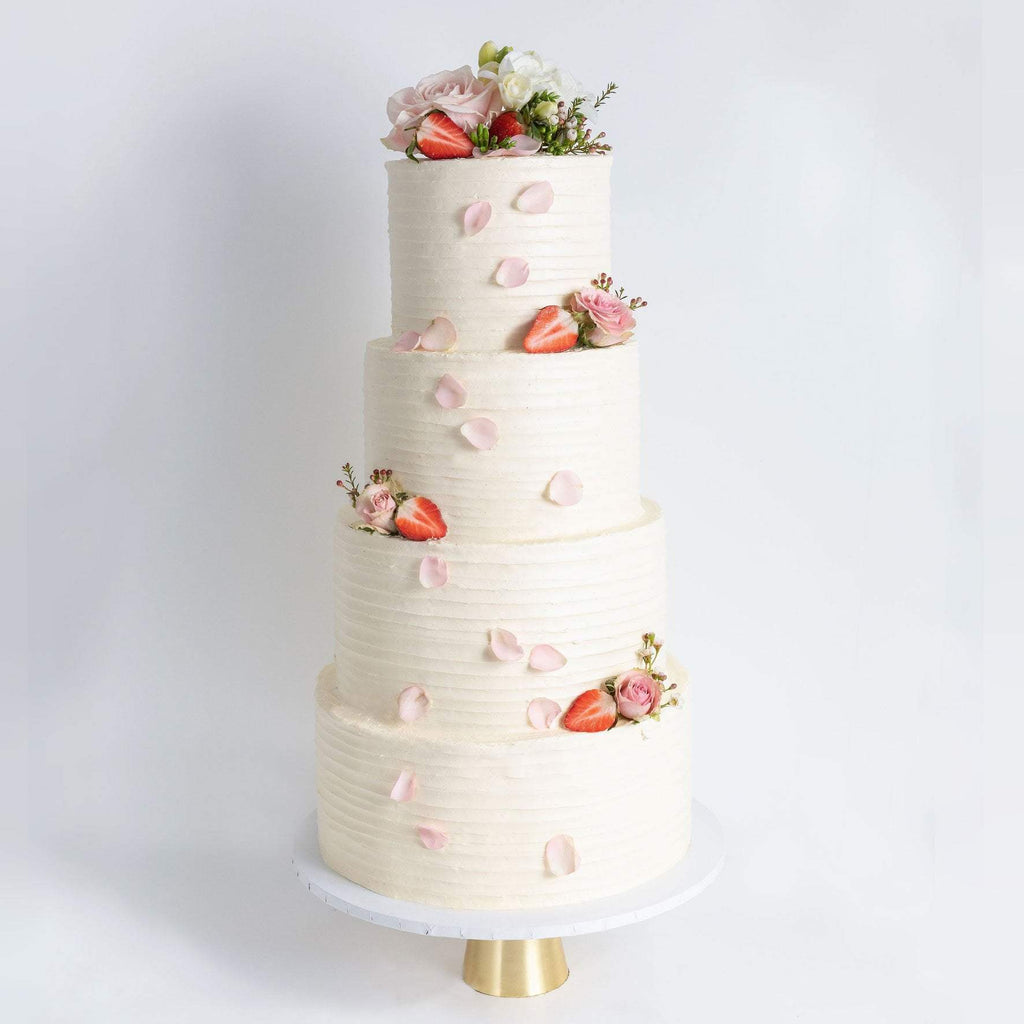 Cutter & Squidge Weddings FOUR TIER FLORAL RUFFLE WEDDING CAKE