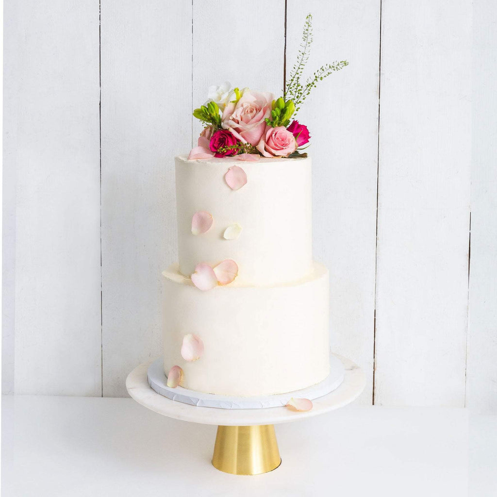 TWO TIER DECORATED WHITE WEDDING CAKE