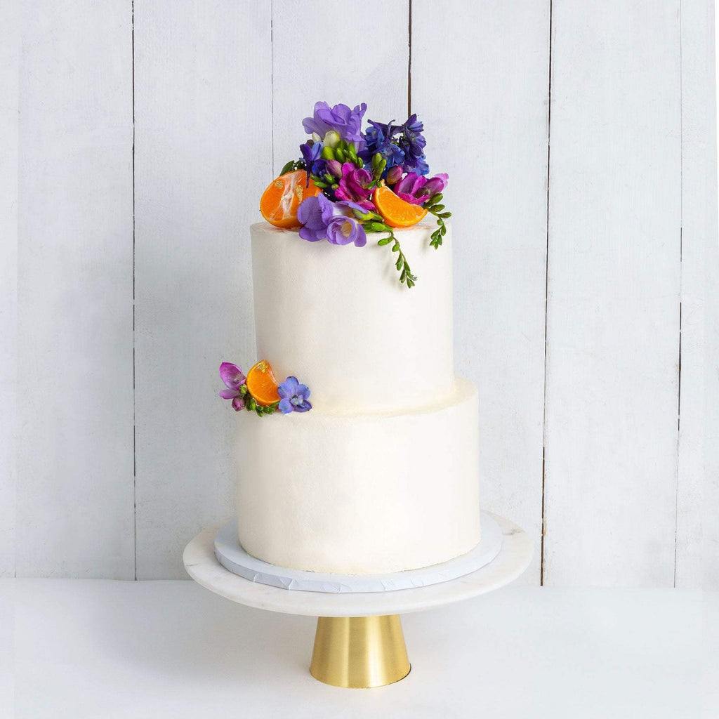 "Cutter & Squidge Weddings Purple & Orange - Two Tier (8"", 6"") TWO TIER DECORATED WHITE WEDDING CAKE"