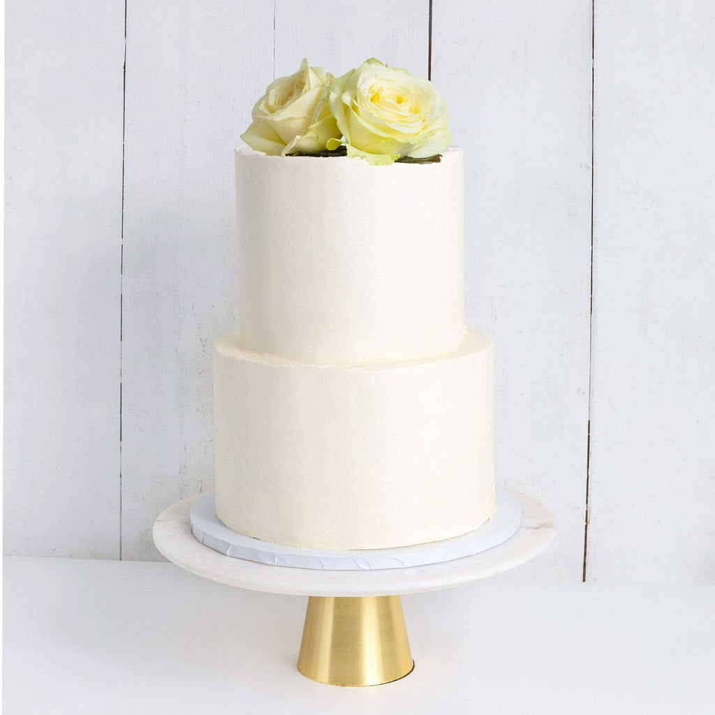 "Cutter & Squidge Weddings Classic White Rose - Two Tier (8"", 6"") TWO TIER DECORATED WHITE WEDDING CAKE"