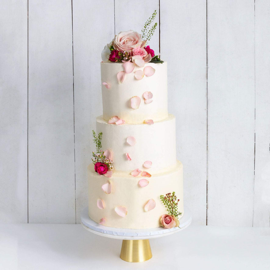 "Cutter & Squidge Weddings Pink & Petals - Three Tier (10"", 8"", 6"") THREE TIER DECORATED WHITE WEDDING CAKE"
