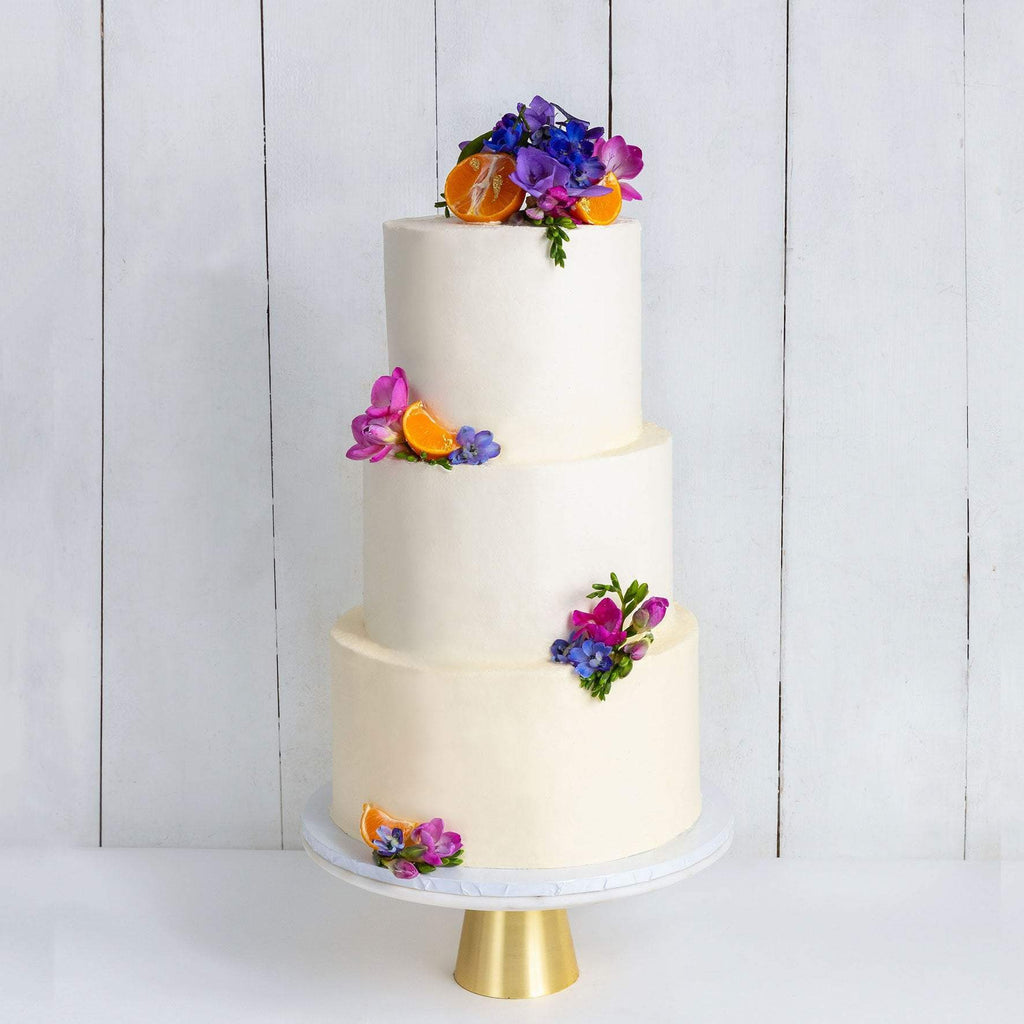 "Cutter & Squidge Weddings Purple & Orange - Three Tier (10"", 8"", 6"") THREE TIER DECORATED WHITE WEDDING CAKE"