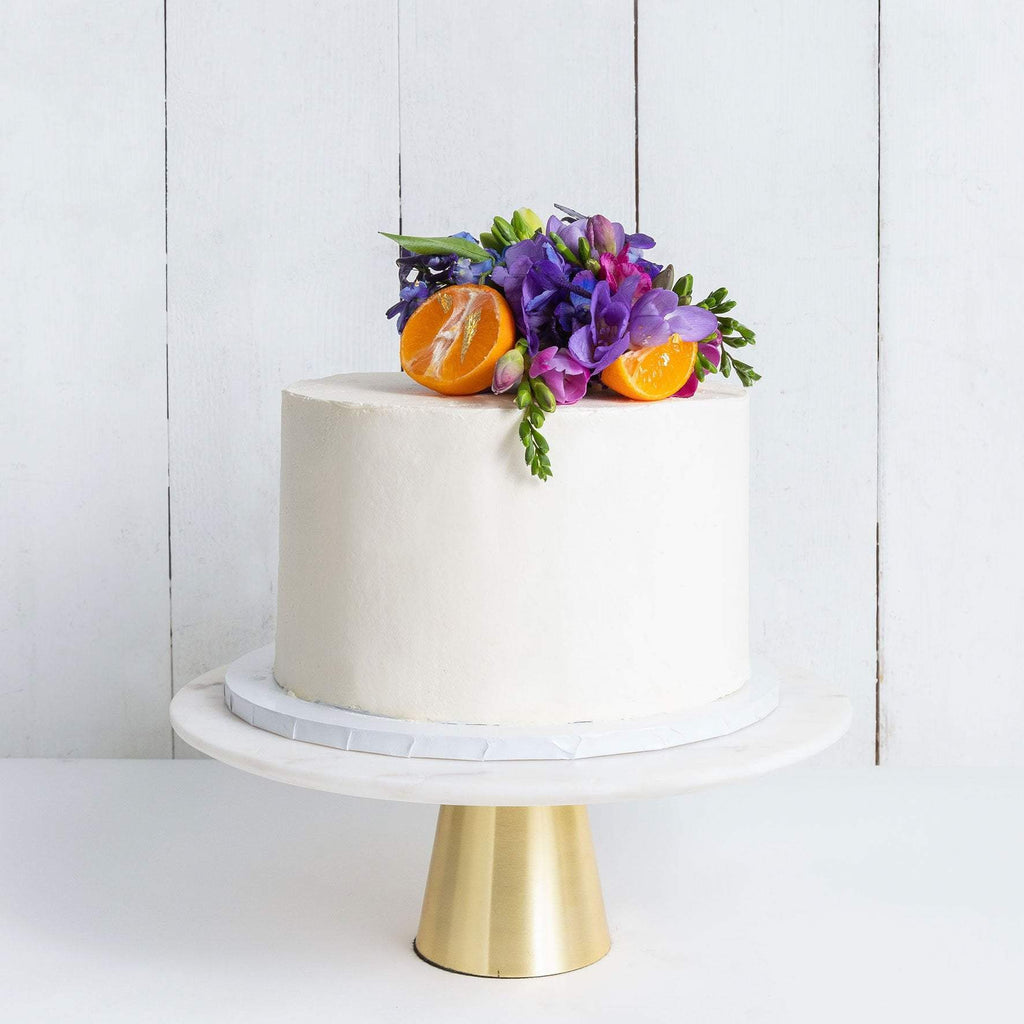 "Cutter & Squidge Weddings Purple & Orange - Small 6"" ONE TIER DECORATED WHITE WEDDING CAKE"