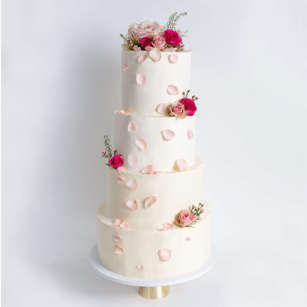 "Cutter & Squidge Weddings Pink & Petals - Four Tier (12"", 10"", 8"", 6"") FOUR TIER DECORATED WHITE WEDDING CAKE"
