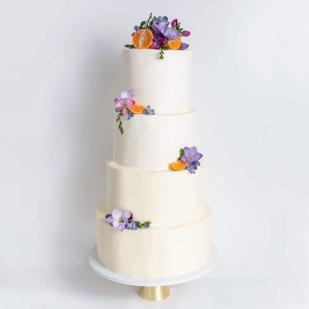 "Cutter & Squidge Weddings Purple Floral - Four Tier (12"", 10"", 8"", 6"") FOUR TIER DECORATED WHITE WEDDING CAKE"