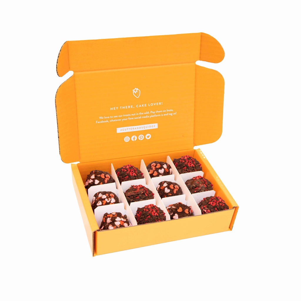 Cutter & Squidge Box of 12 VALENTINE'S DAY VEGAN CAKE TRUFFLES