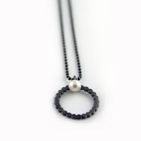 Oxidised silver and pearl pendant