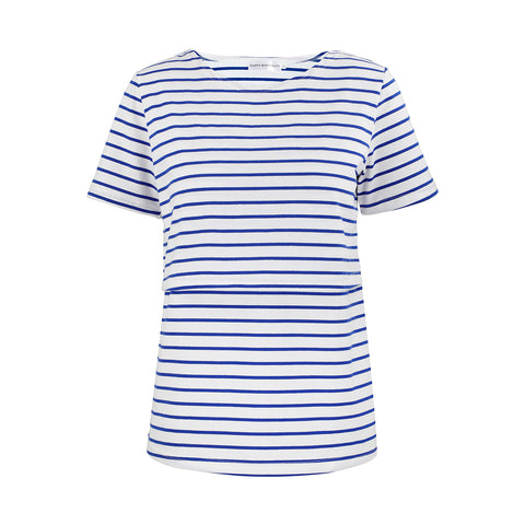 Happymaternity Nursing Stripes Top Blue Nautical