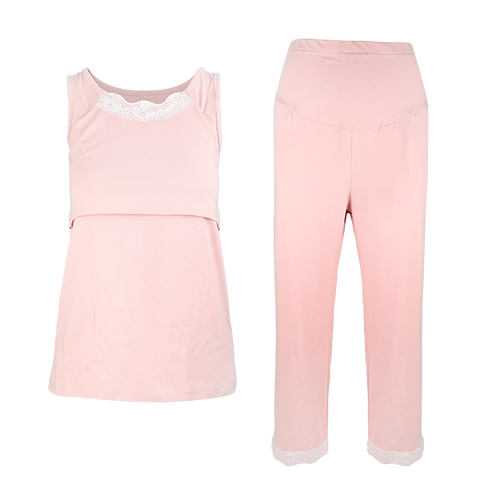 blush pink maternity and nursing pajamas