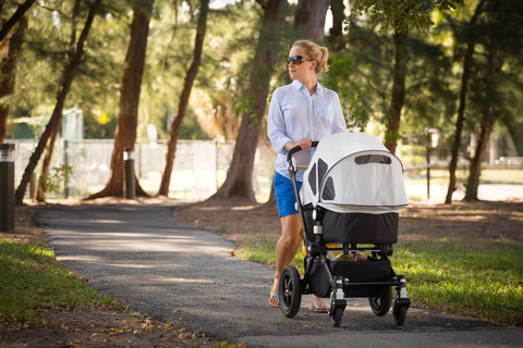 stroller, exercise, mum and baby