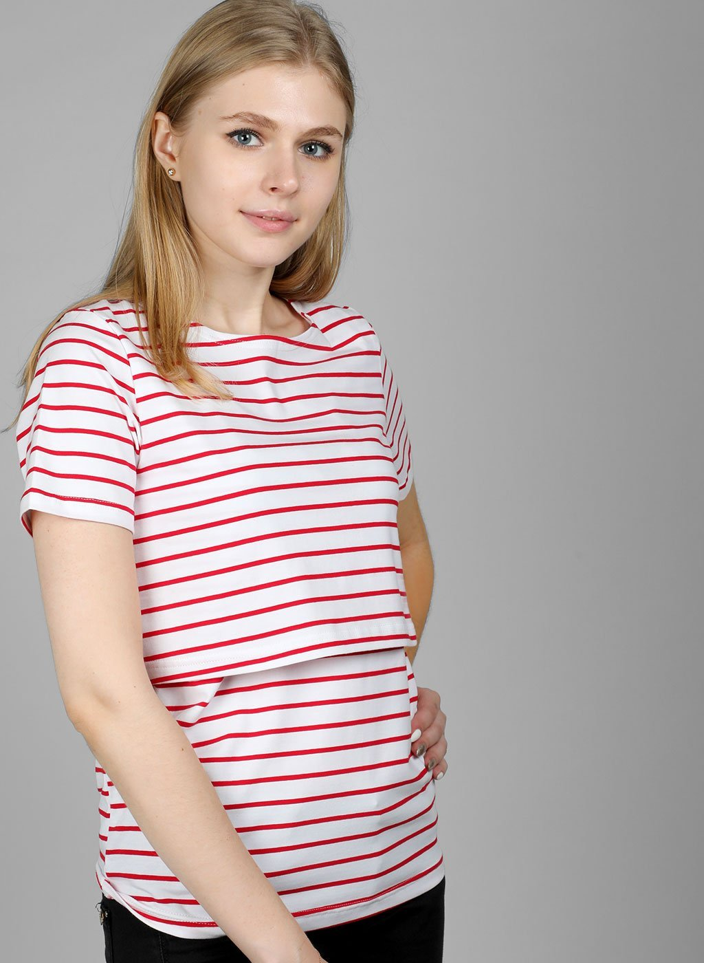 Lovemère Ruby Red Nursing Stripes Top