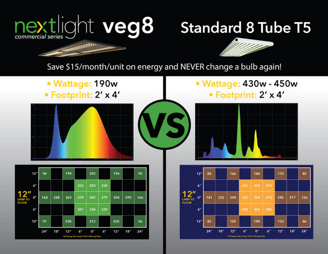 Next Light Veg 8 vs. fluorescent grow light