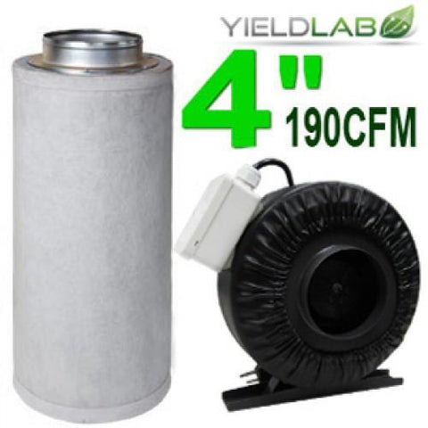 Yield Lab 4 Inch 190 CFM Charcoal Filter and Duct Fan Kit