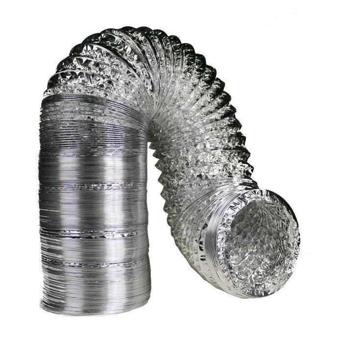 4 Inch By 25 Foot Dual Layer Foil Ducting Ventilation