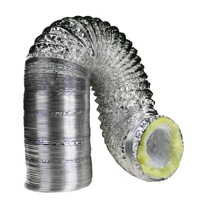 4 Inch By 25 Foot Insulated Foil Ducting Ventilation