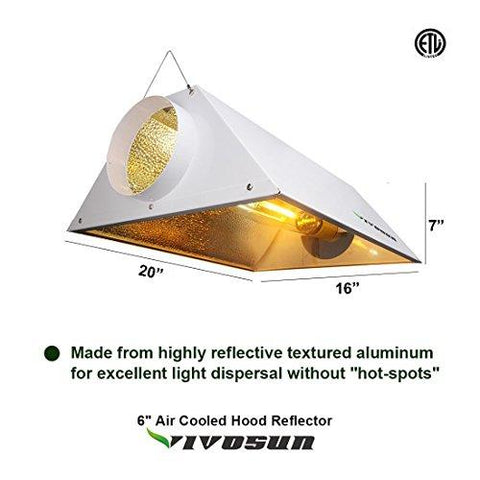 Image of Vivosun 600 Watt HPS and MH Air Cooled Hood Reflector Kit