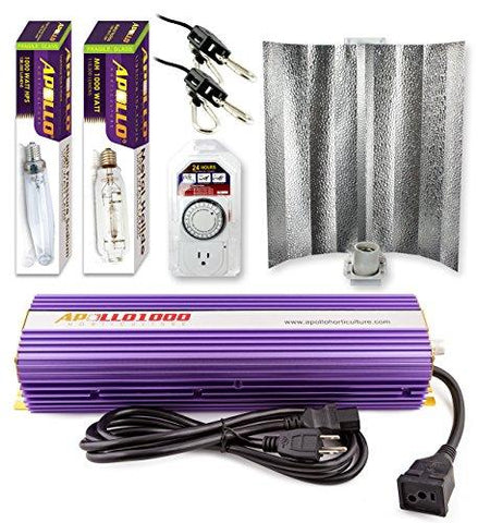 Image of Apollo Horticulture 1000 Watt HPS and MH Gull Wing Reflector Kit