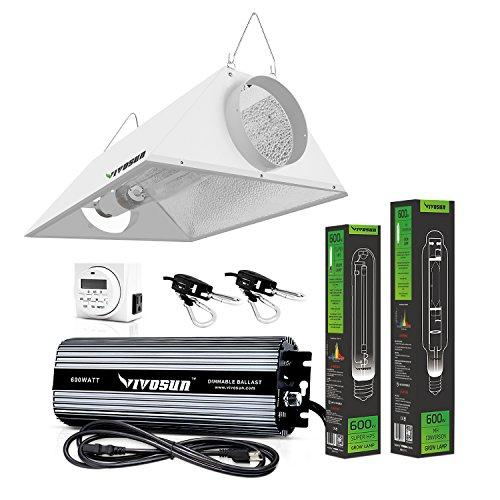 Vivosun 600 Watt HPS and MH Air Cooled Hood Reflector Kit