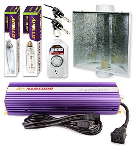 Apollo Horticulture 1000 Watt HPS and MH Air Cool Hood Kit