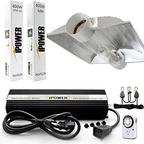 iPower 400 Watt HPS and MH Air Cooled Tube Hood Reflector Grow Light Kit