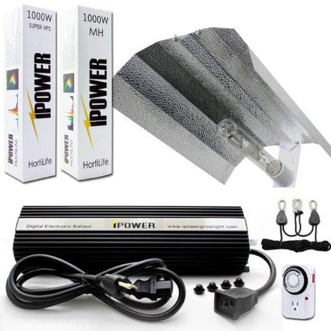 Image of iPower 1000 Watt HPS and MH Wing Reflector Grow Light Kit
