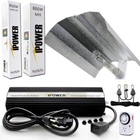 Image of iPower 600 Watt HPS and MH Wing Reflector Grow Light Kit