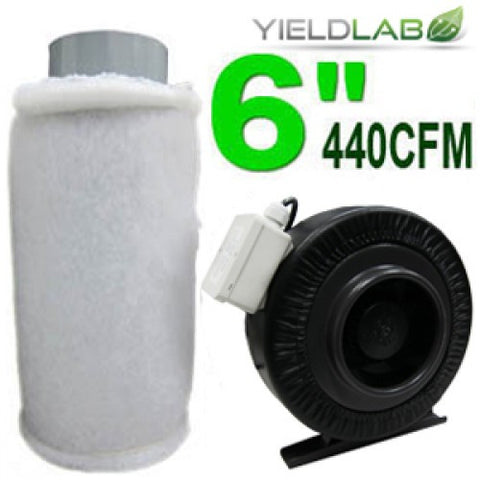 Yield Lab 6 Inch 440 CFM Charcoal Filter and Duct Fan Kit