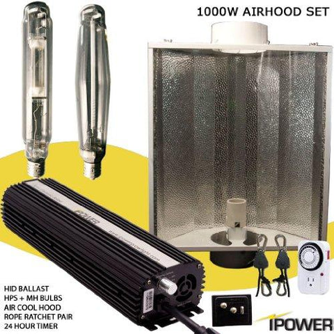 Image of iPower 1000 Watt HPS and MH Air Cooled Hood Grow Light Kit