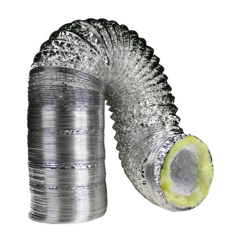 8 Inch By 25 Foot Insulated Foil Ducting Ventilation