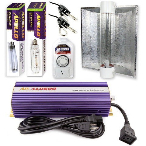 Apollo Horticulture 600 Watt HPS and MH Air Cool Tube Hood Kit