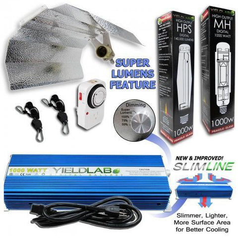 Yield Lab 1000 Watt HPS & MH Wing Reflector Grow Light Kit