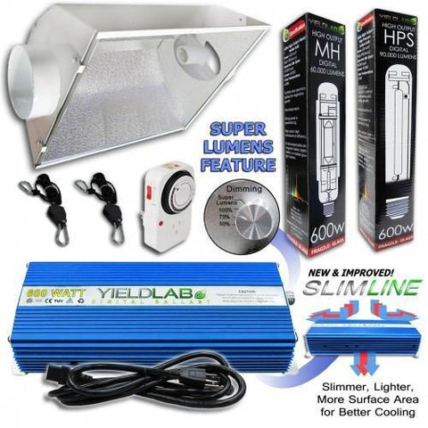 Yield Lab 600 Watt HPS and MH Air Cool Hood Reflector Grow Light Kit