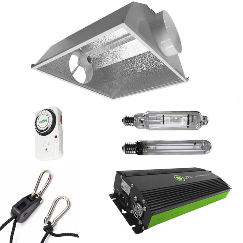 Air-Cooled Hood 600 Watt HPS & MH Grow Light Kit