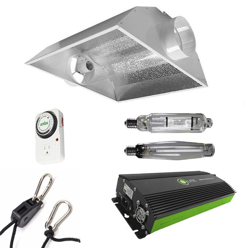 Air-Cooled Tube Hood 1000 Watt HPS & MH Grow Light Kit