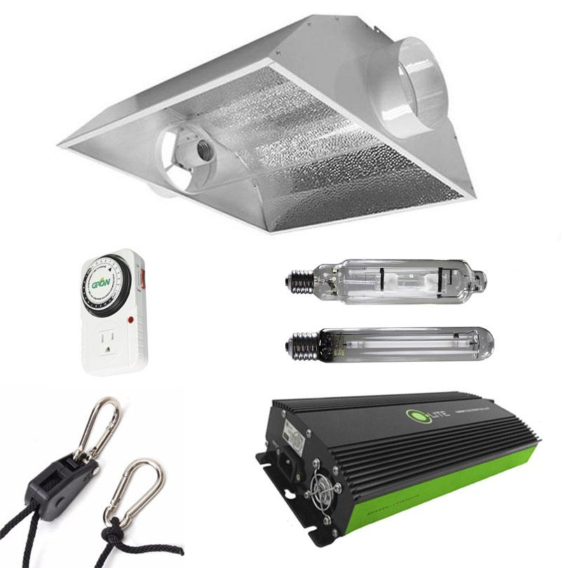 Air-Cooled Tube Hood 600 Watt HPS & MH Grow Light Kit