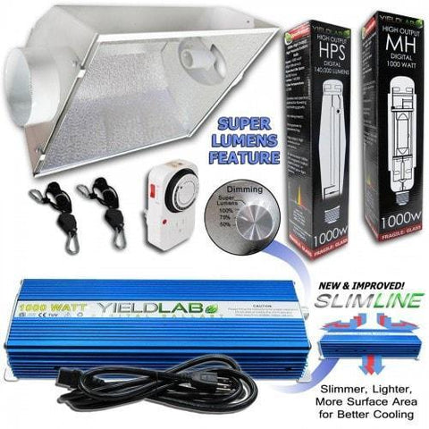 Yield Lab 1000 Watt HPS & MH Cool Hood Reflector Grow Light Kit