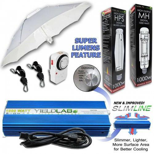 Yield Lab 1000 Watt Umbrella HPS and MH Grow Light Kit