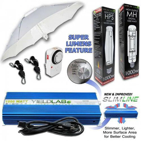 Image of Yield Lab 1000 Watt Umbrella HPS and MH Grow Light Kit