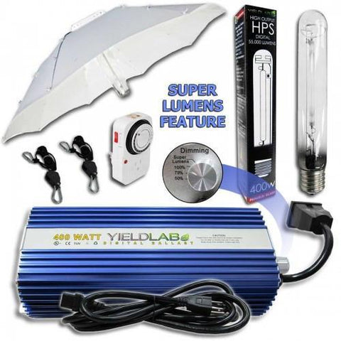Yield Lab 400 Watt HPS Umbrella Reflector Digital Grow Light Kit