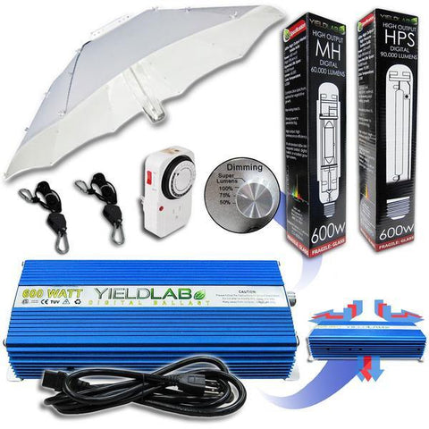 Yield Lab 600 Watt HPS and MH Umbrella Reflector Grow Light Kit