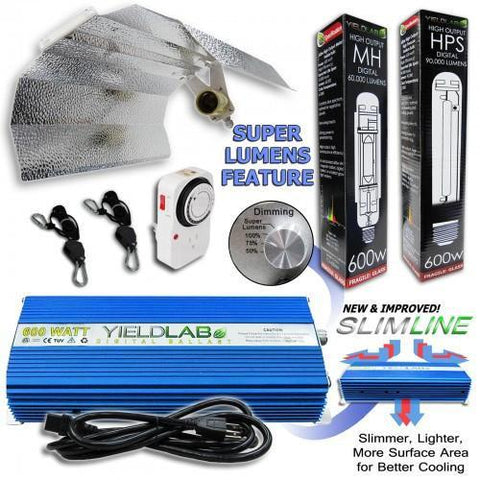 Yield Lab 600 Watt HPS and MH Wing Reflector Grow Light Kit