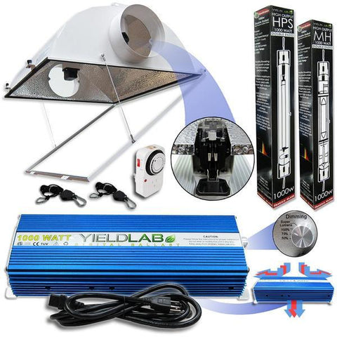 Yield Lab Double Ended 1000 Watt Air Cool Hood HPS and MH Grow Light Kit