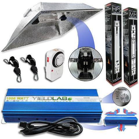 Yield Lab Double Ended 1000 Watt XXL Hood HID Grow Light Kit