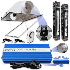 Yield Lab Double Ended 600 Watt Air Cooled Hood HID Grow Light Kit