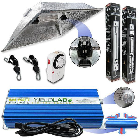 Yield Lab Double Ended 600 Watt XXL Hood HID Grow Light Kit